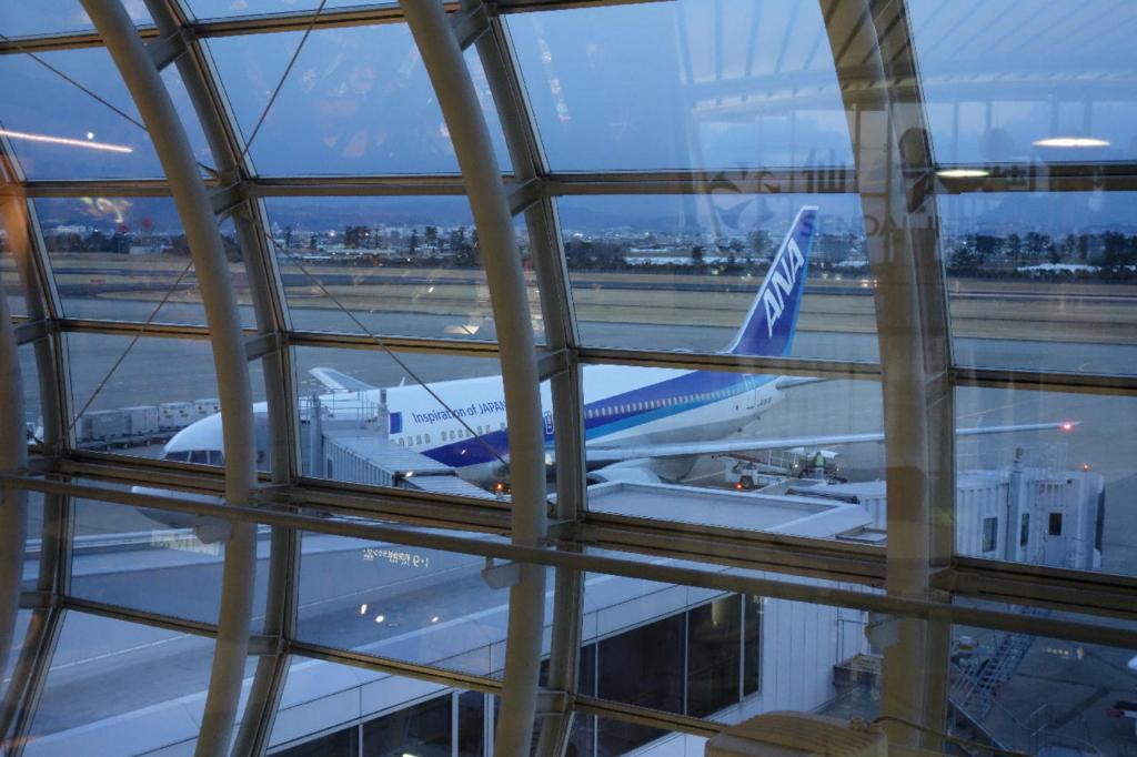 仙台国際空港3階から見た到着したばかりのANA1864便(平成30年3月1日)