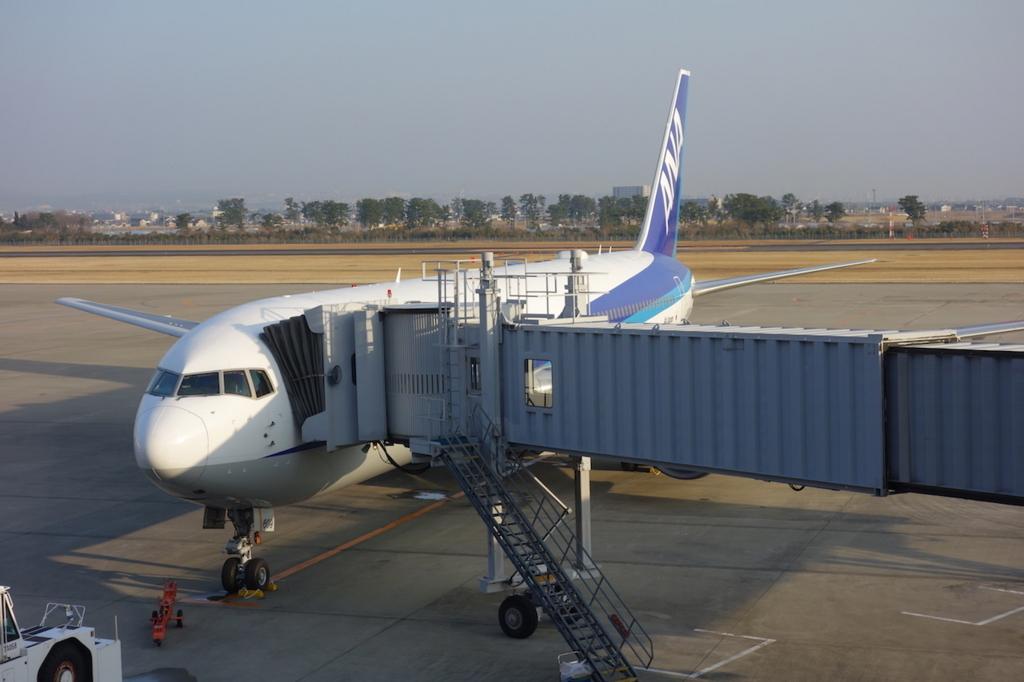 空港内から見たANA732便(平成30年3月27日)