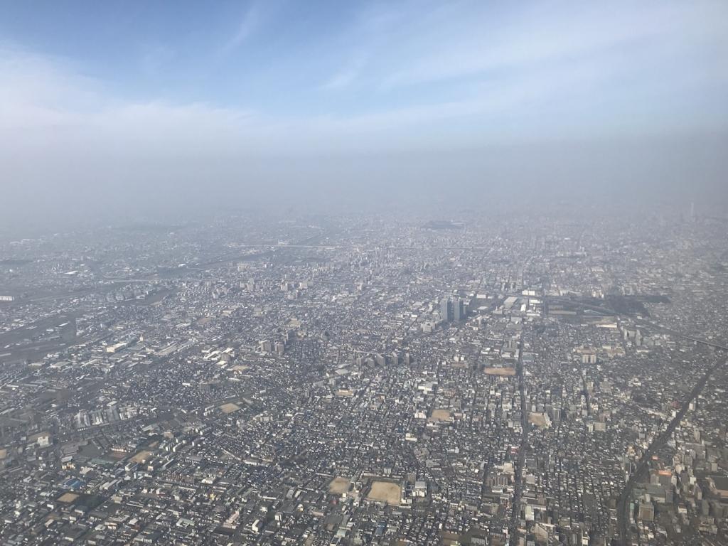ANA732便から見た大都市大阪上空(平成30年3月27日)