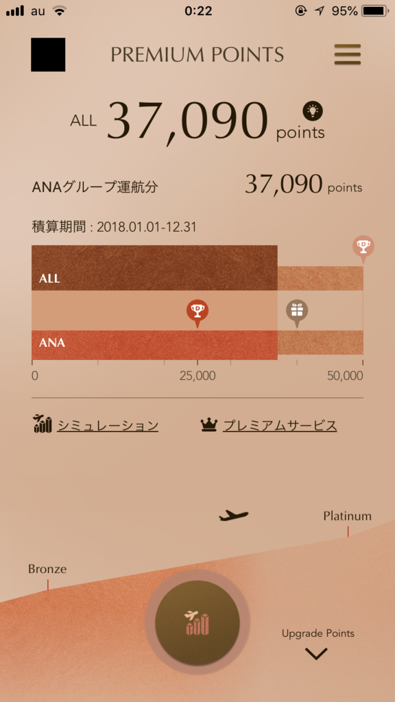 ANAのMileageアプリ画面ブロンズ色(SFC修行第六回目)