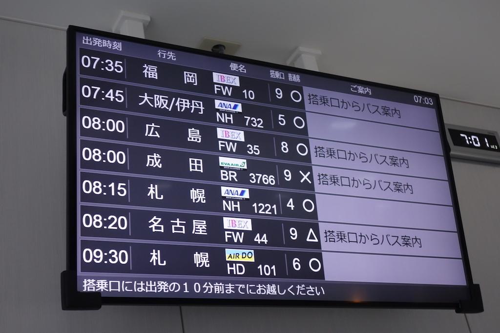仙台国際空港のANAラウンジに設置される出発案内(平成30年4月25日)