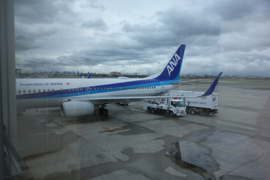 大阪国際空港に到着したANA732便(平成30年4月25日)