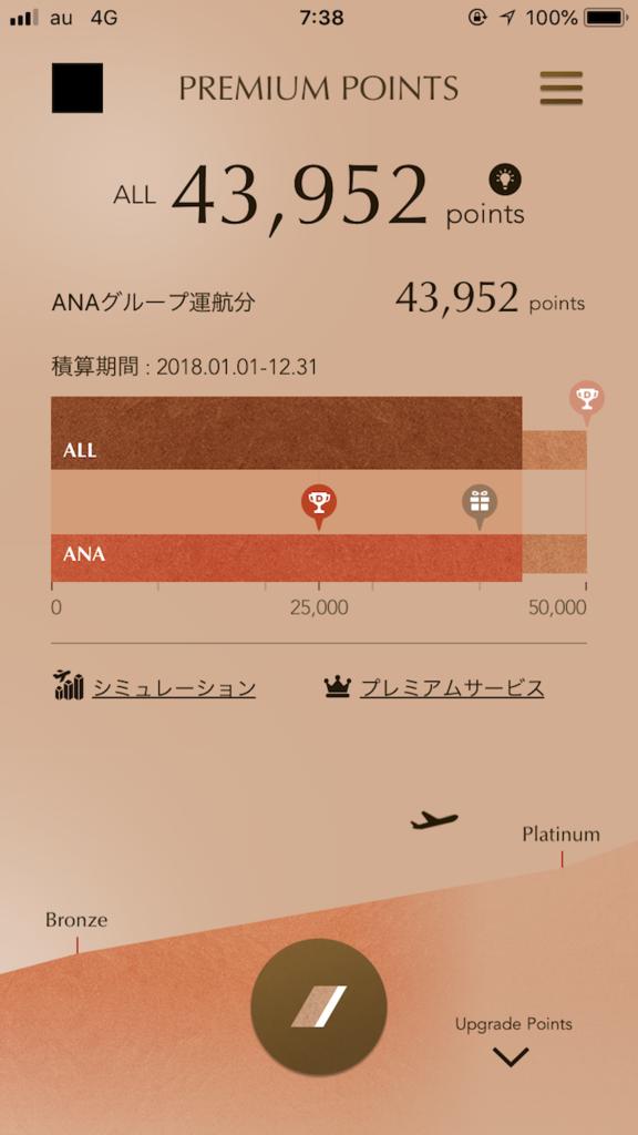 ANAのMileageアプリ画面(SFC修行第七回目)