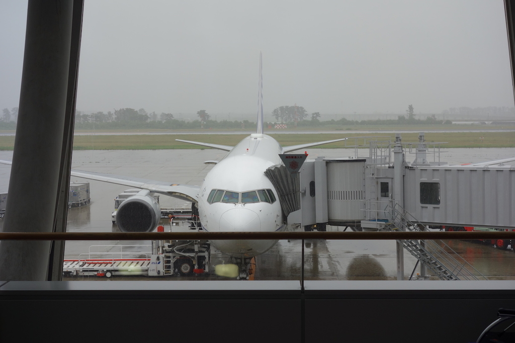 空港内から見たANA1863便(平成30年6月11日)