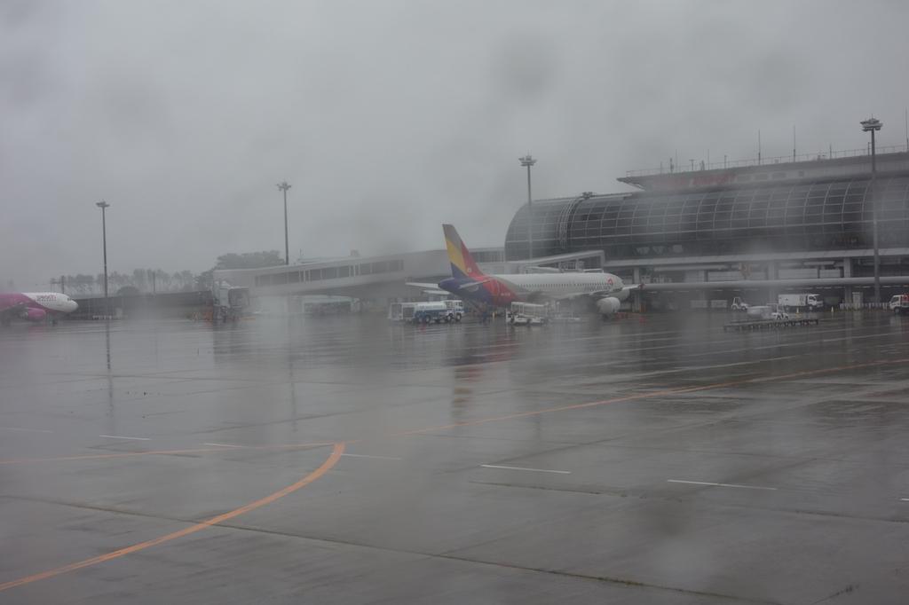 ANA1863便から見た仙台国際空港敷地内で駐機するアシアナ機(平成30年6月11日)