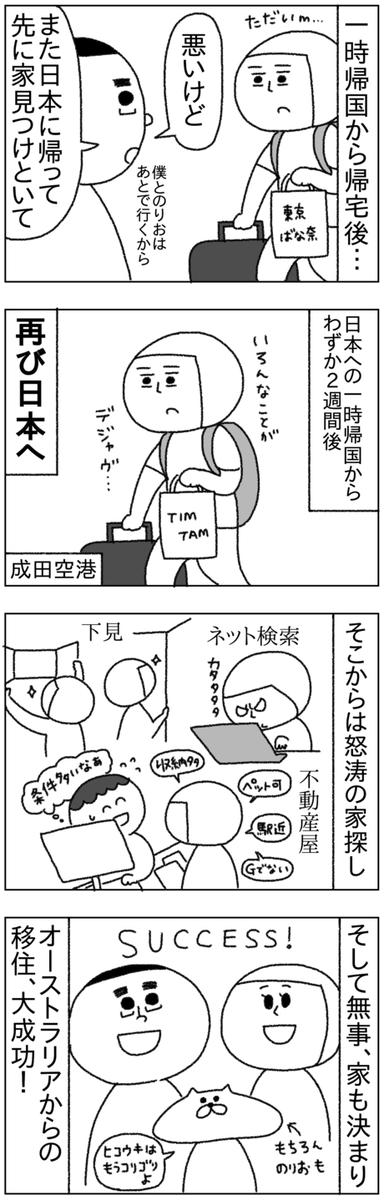 日本への一時帰国中に本帰国が決まり、一旦オーストラリアに戻り、2週間後にまた日本に戻ってくることとなった。そしてなんとか家も決まり、オーストラリアから日本への移住に無事成功した