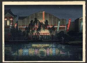石渡江逸-夜の浅草