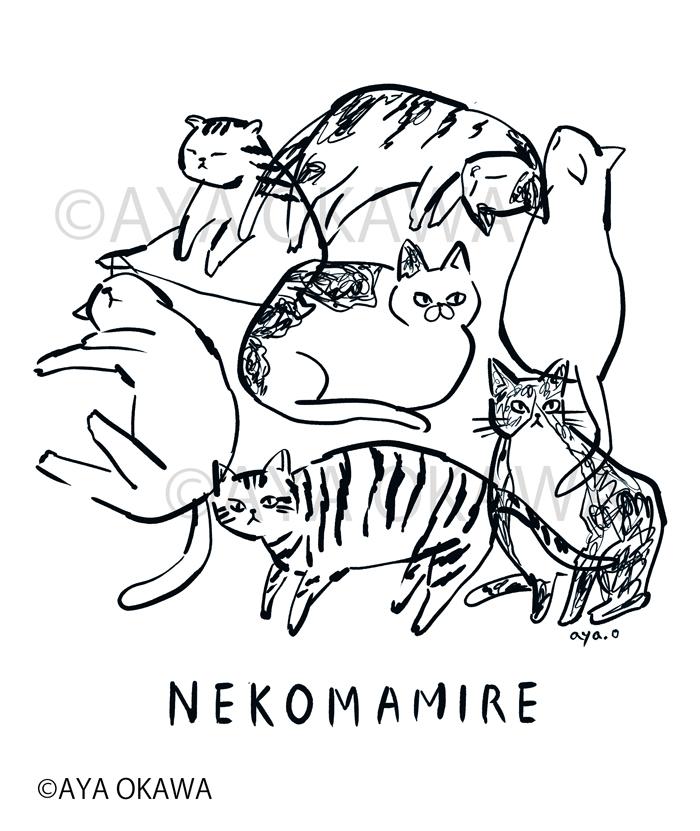 線画猫イラスト