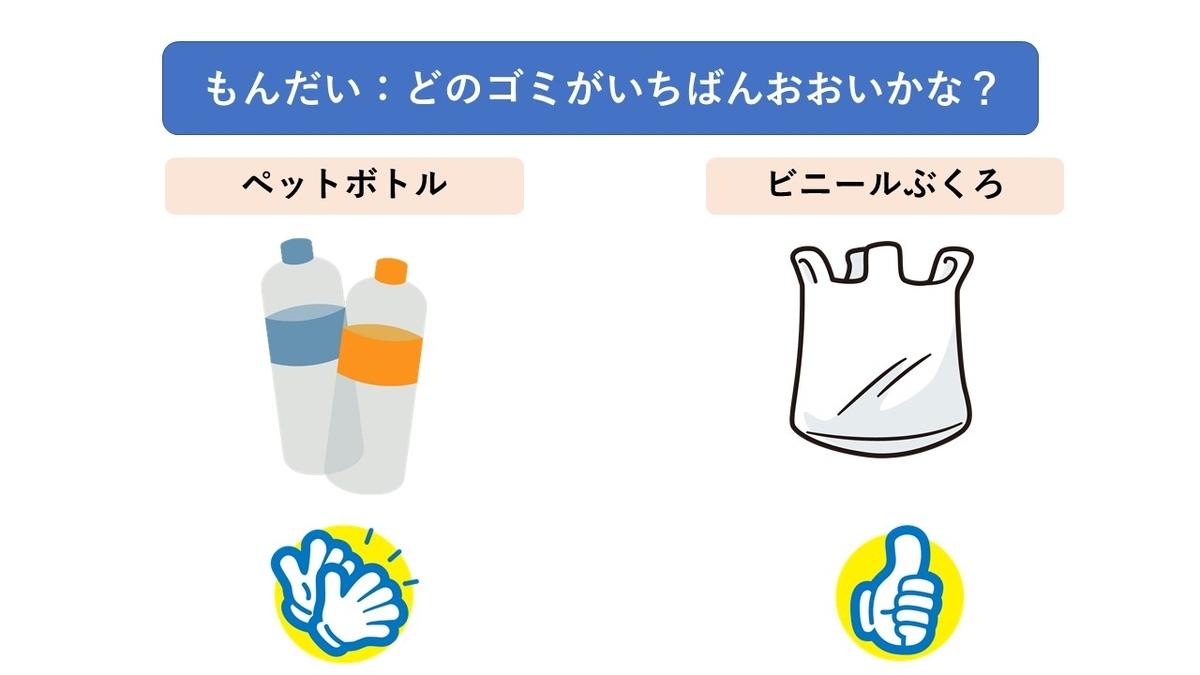 プラスチックごみのペットボトルとビニール袋