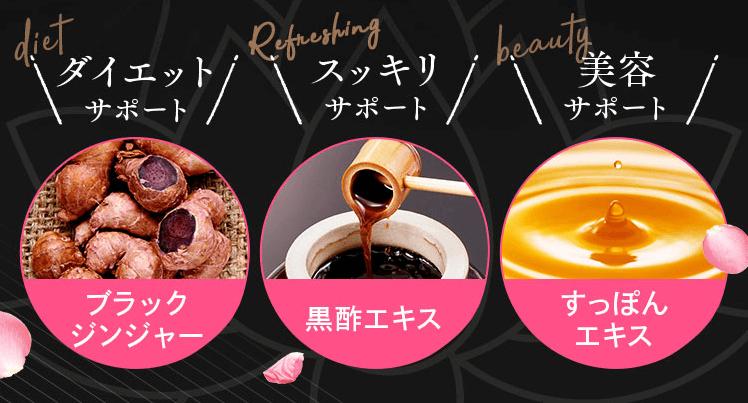 美・スリムすっぽん黒酢美姜の贅沢な美容成分