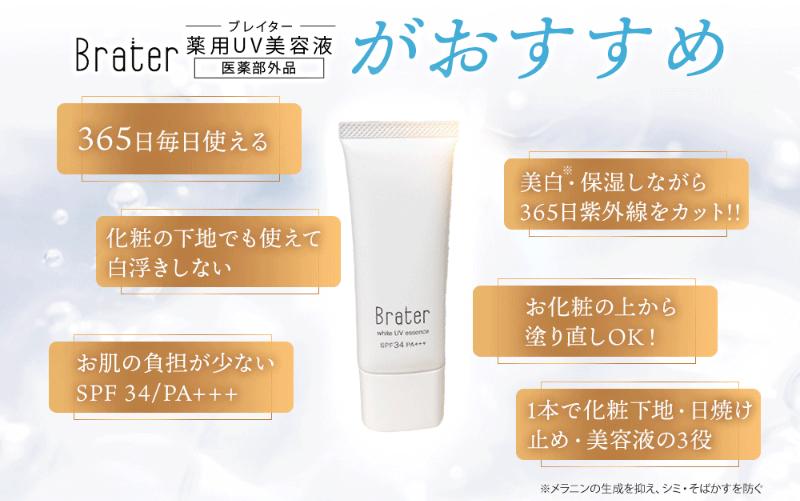 ブレイター薬用UV美容液は日焼け止めと美白