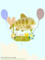 [イラスト][携帯待受][魚][キツネ][ネコ]「夏の日の光景(お魚気球4)」携帯待受240x320