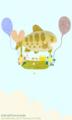 [イラスト][携帯待受][魚][キツネ][ネコ]「夏の日の光景(お魚気球4)」携帯待受240x400