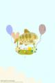 [イラスト][携帯待受][魚][キツネ][ネコ]「夏の日の光景(お魚気球4)」携帯待受320x480(iphone用)