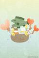 [イラスト][携帯待受][魚][クマ][ハート][風船]「サンタくまちゃんとしろくまちゃん」320x480