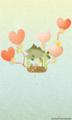 [イラスト][携帯待受][魚][サバ][キリン][ハート][風船]「サバットさん&キリン姉妹」240x400