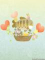 [イラスト][携帯待受][魚][ヤマメ][ゾウ][キツネ][ウサギ][ハート][風船]「ヤマさんのお魚気球」240x320
