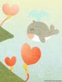 [イラスト][携帯待受][ハート][風船][クジラ]「くじらん&いるちゃん」240x320