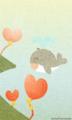 [イラスト][携帯待受][ハート][風船][クジラ]「くじらん&いるちゃん」240x400