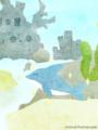 [イラスト][携帯待受][魚][イルカ]4.「ウオウオタウン・バリエーション(くブルー&いるちゃん)」240x320