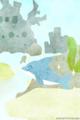 [イラスト][携帯待受][魚][イルカ]4.「ウオウオタウン・バリエーション(くブルー&いるちゃん)」320x480