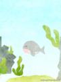 [イラスト][携帯待受][魚][クジラ]6.「ウオウオタウン・バリエーション(くじらん町長)」240x320
