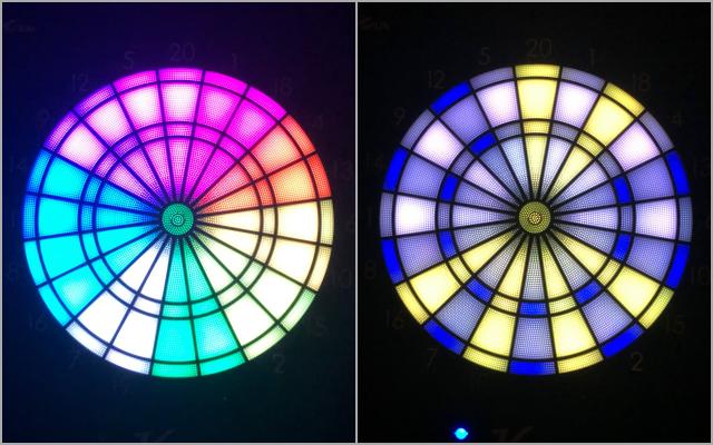 VDartsH3Lの暗闇でのLEDの発色