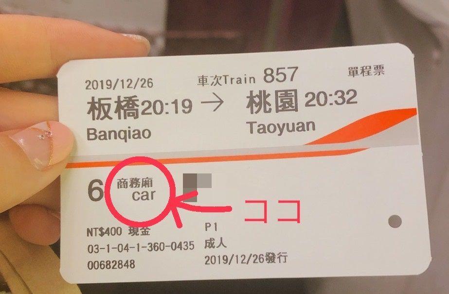 台湾新幹線のグリーン車(商務廂)のチケット