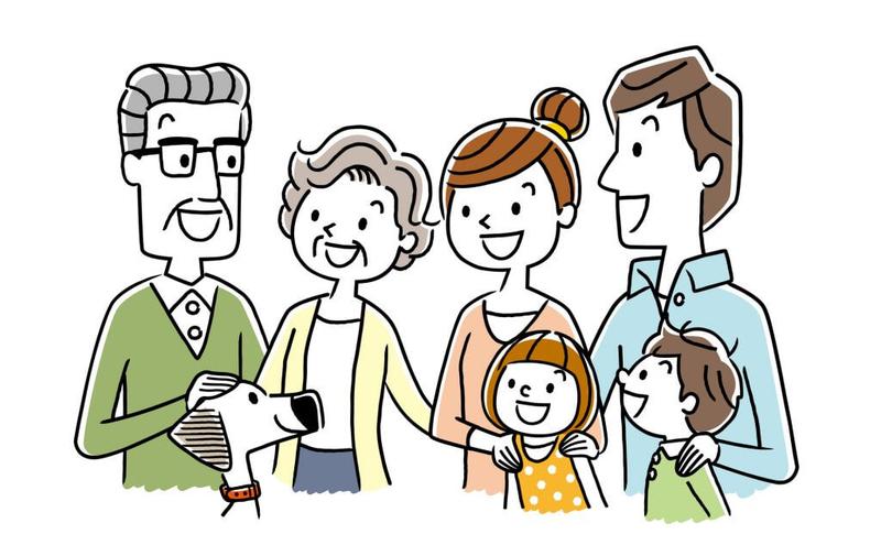 介護サービスを利用する家族のイラスト