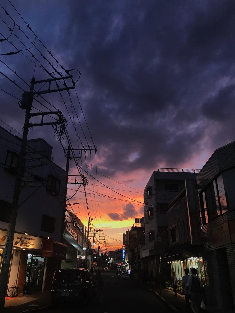 台風が去った日の夕焼け。