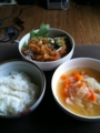 冷しゃぶ、おくら、梅のサラダ。野菜スープ。