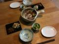 鴨鍋、にんじんと小松菜の白和え、きんぴらごぼう、小松菜のおひたし