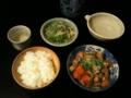 筑前煮、水菜ともやしの穂先メンマナムル、醸し人九平次