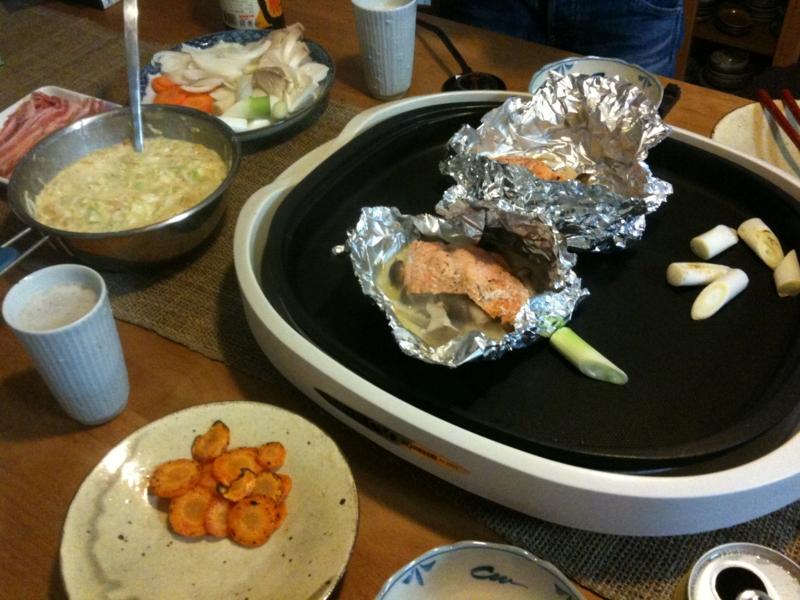 鮭のバターホイル焼、お好み焼きなど