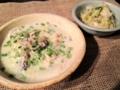 夕食: 牡蠣と白菜のシテゥ、白菜の胡麻和え