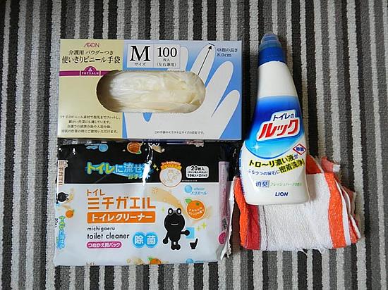 トイレ掃除洗剤と用具の写真