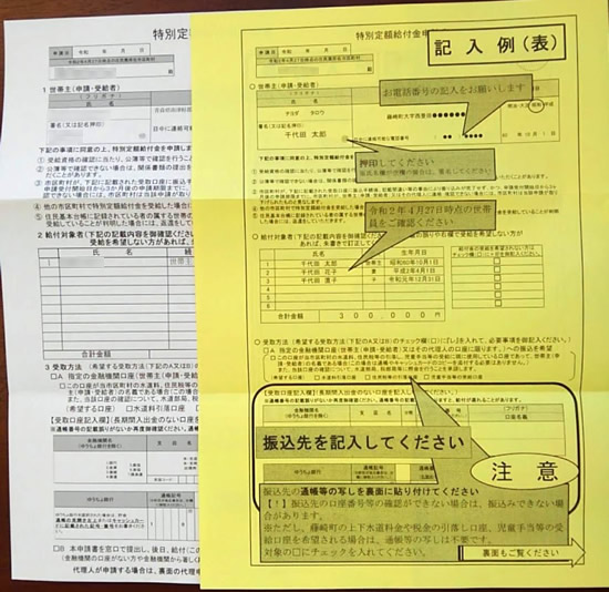 申請書と申請書記入例の用紙の写真