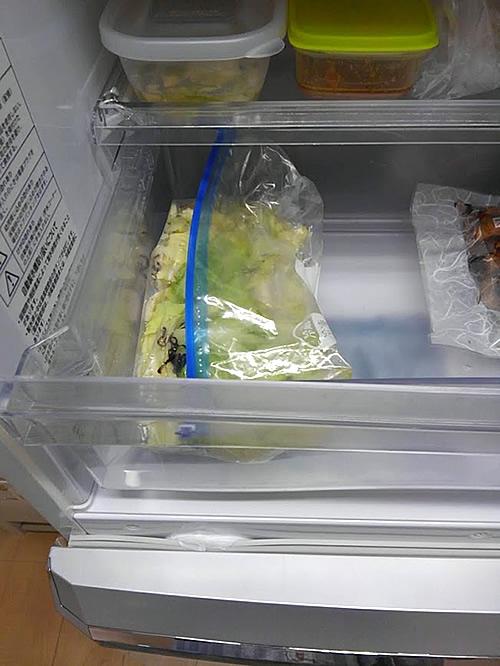 ジップロックに入れた浅漬けを冷蔵庫で保管する写真