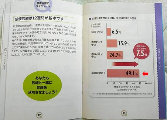禁煙成功率が書かれている禁煙手帳の個所の写真