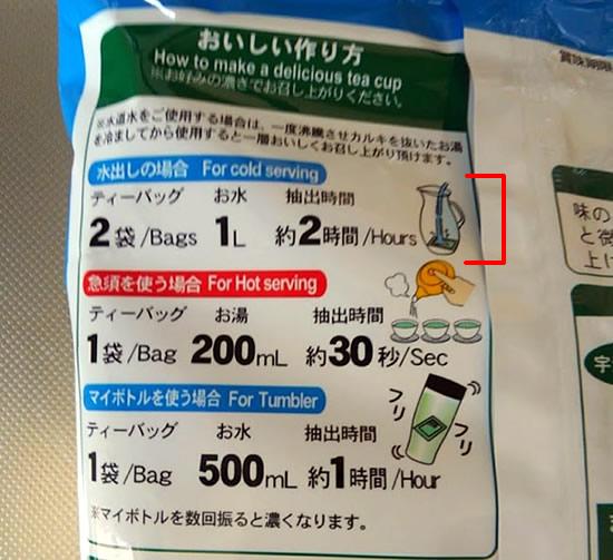 水出し緑茶パッケージ裏に書いてある作り方についての写真