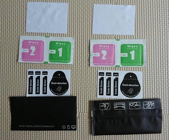 保護フィルム取付の付属品などの写真