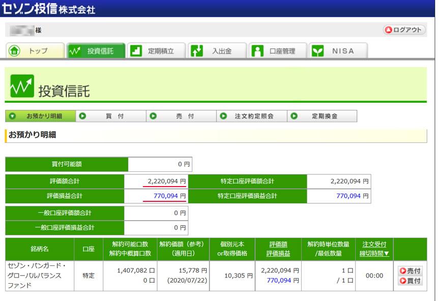 セゾン投信の運用状況画面のキャプチャ画像