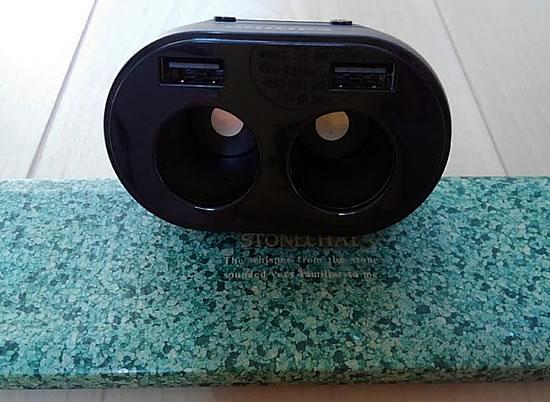 フィリップスのシガーソケット2連 真正面からの写真