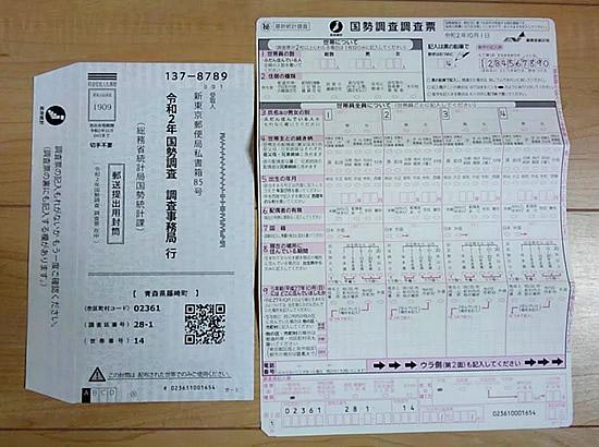 国勢調査の紙の調査票と郵送封筒の写真画像