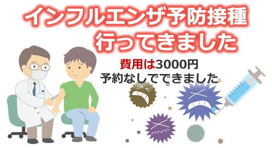 「インフルエンザ予防接種 料金(費用)は3000円 予約なしでできました」タイトル画像