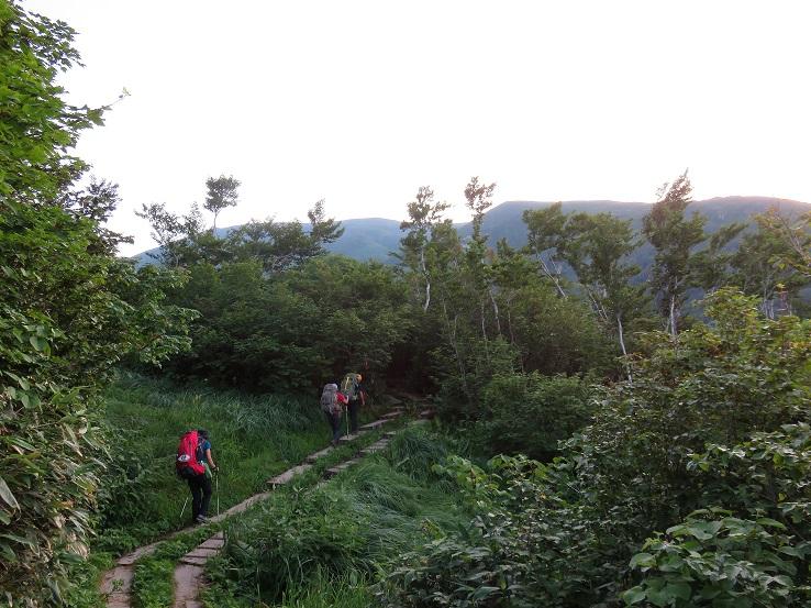 月山の登山道は、木道