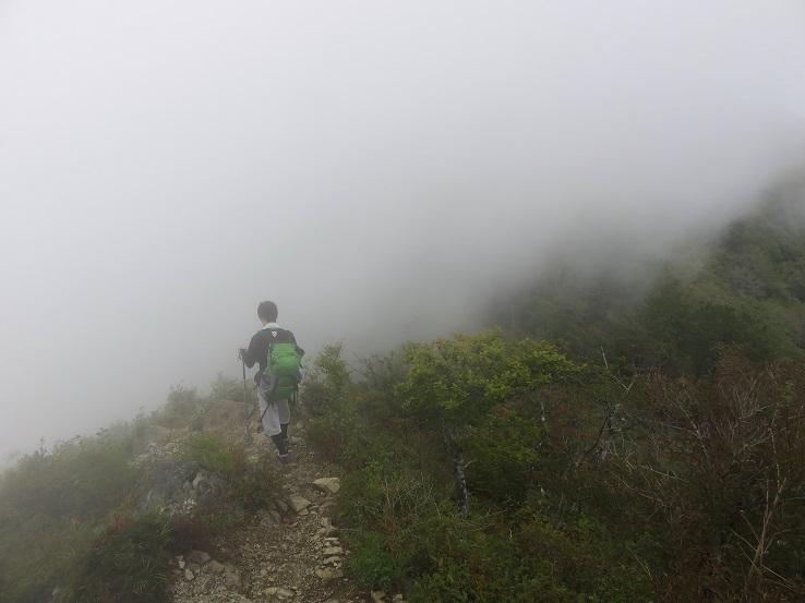 濃いガス蛭ヶ岳
