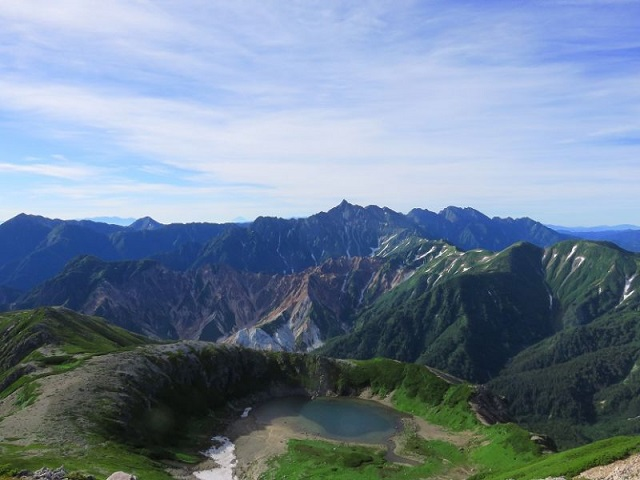 北アルプス鷲羽岳水晶岳