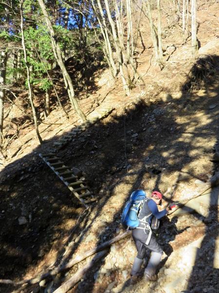 土砂崩れ真新しい階段とロープ