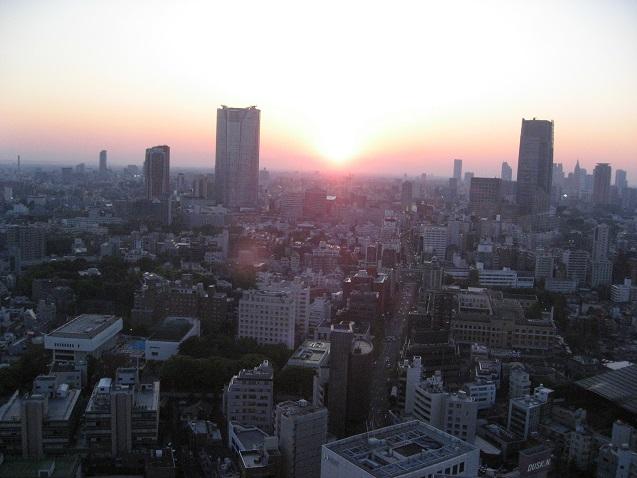 東京タワーの展望台からの夕日・夜景